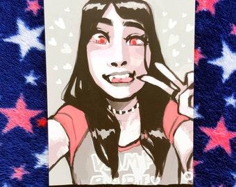 A6 Vampire girl print (2 versions)