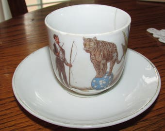 CHILD'S CIRCUS CUP and Saucer Porcelain Germany Tiger on Ball Lion Tamer 1940s