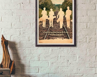 20% OFF!! Stand by Me Movie Poster - Stand by Me print silhouette Vintage Style Magazine Retro Print Cinema Studio Watercolor Background