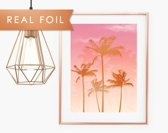 Pink Sunset Palm Tree - Copper Foil Print with Palm Trees Sunset