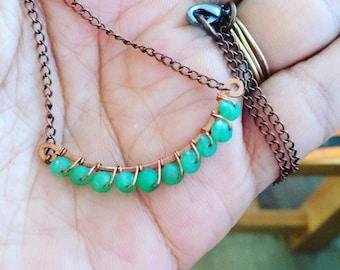 Chrysoprase, green chalcedony copper necklace, heart chakra