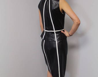 Two piece leather black and white