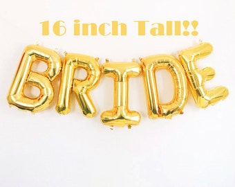 "BRIDE Balloons, Gold 16"" Letter Balloons, Bride Banner, Wedding Decorations, Bride Balloon Letters, Bridal Shower Balloons"