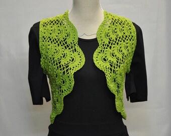 crochet granny Apple green cotton Bolero