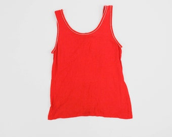 Vintage 1990s Tank Top - Scoop Neck - Red - White Trim - Ringer -  Women's Extra Small - Minimal - Tee Shirt - Blouse - Muscle Tank