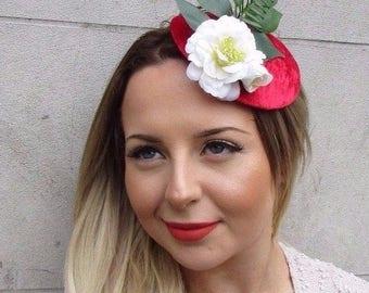 Red Green White Velvet Rose Flower Leaf Fascinator Headpiece Hair Clip Vtg 2728
