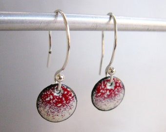 Petite Circle Enamel Earrings, Cherry Red & Ivory Ombre Kiln Fired Glass Enamel, Sterling Silver Hooks, Small Dangle Earrings