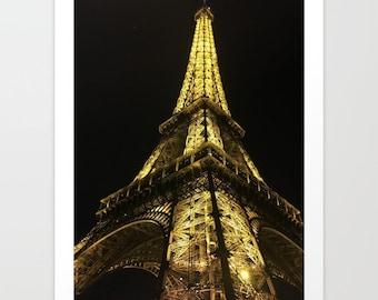 Eiffel Tower Art Print, Eiffel Tower Wall Art, Paris Wall Print, Paris At Night Art Print, Eiffel Tower At Night Art, Parisian Art Print