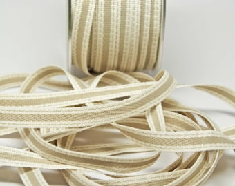 Sold Color Band Ribbon with Stitched Edge -- 3/8 inch -- Khaki Cream -- 3 yards
