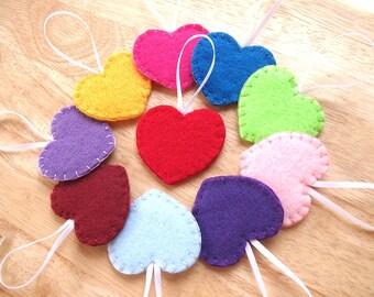 10 rainbow heart ornaments, heart decorations, home decor, felt hearts, valentines decor, rainbow wedding, set of 10 rainbow ornaments