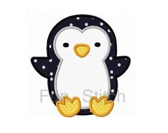 Cute penguin applique machine embroidery design