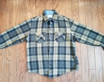 Vintage plaid flannel button up longsleeve distressed shirt. Sears.  LARGE