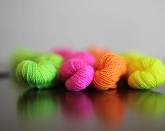 Embroidery wool - lace weight - neon color ways - hand dyed