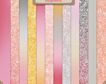 Digital Scrapbooking, Glitter and Ombre Paper Pack: You're My Lil' Girl