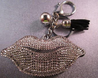 Silver Rhinestone Lip Charm Keychain 1pc
