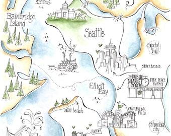 Seattle Wedding Map/ Seattle Artwork