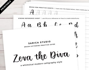 Zeva the Diva Brush Lettering Practice Guide — Printable Calligraphy Worksheet