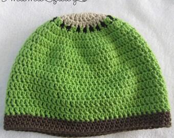 Kiwi Fruit Baby Hat - crocheted bamboo blend yarn - green, brown & cream - fruit crochet beanie