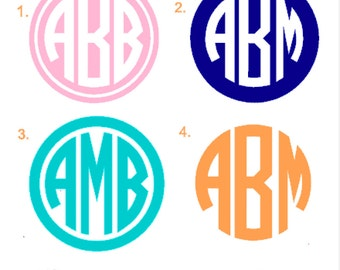 Circle Monogram Sticker, Monogram Car Decal Sticker, Computer Sticker, Circle Monogram Sticker with Circle around it, Personalized Car Decal