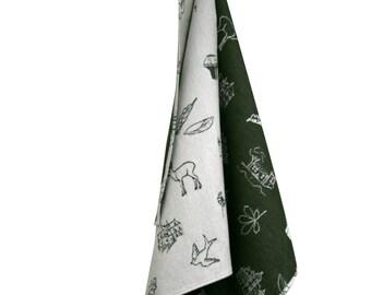 Tea Towel   100% cotton   Stoffen & Streken   dutch design   moss-green, red, sand   handdrawn pattern