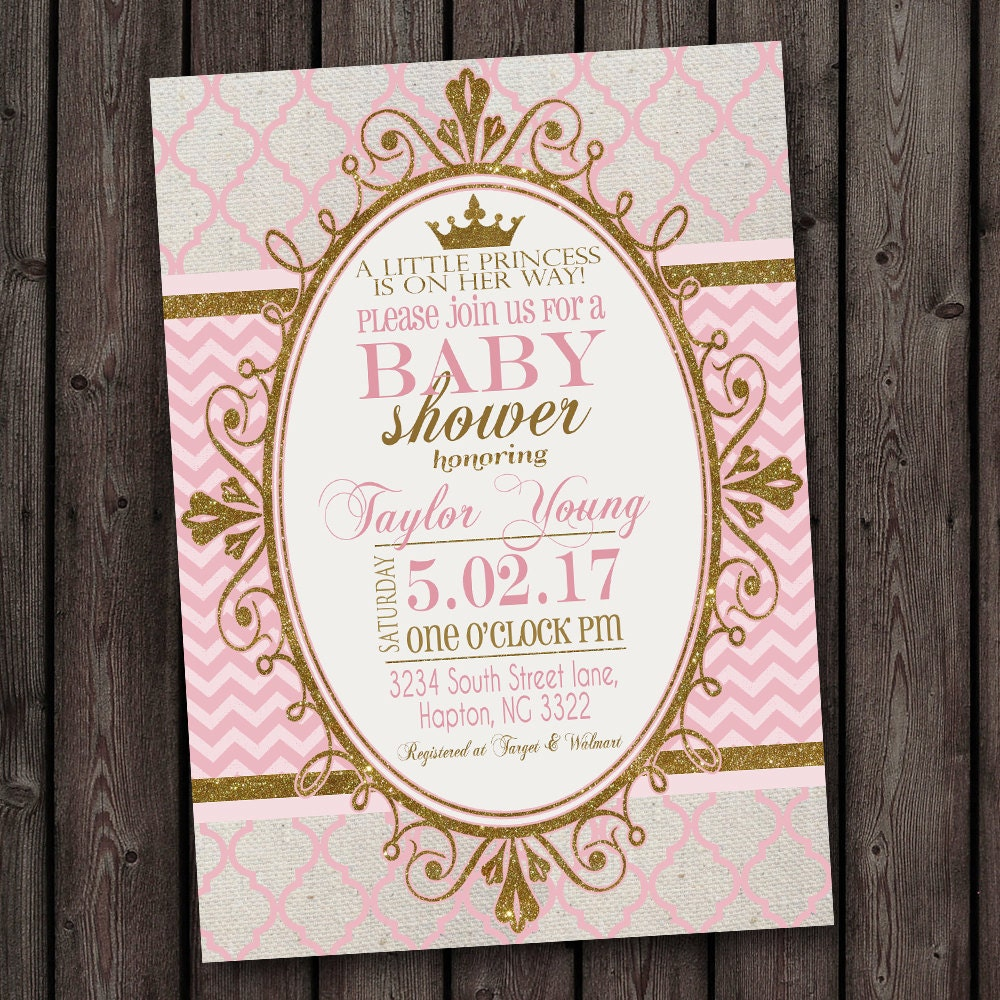 pink gold princess baby shower invitation pink and gold baby
