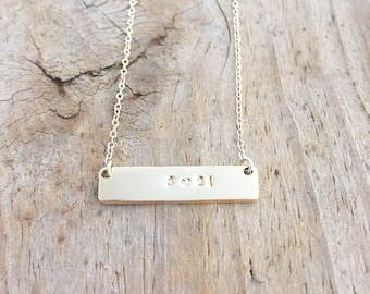 Trisomy Awareness Necklace, Down Syndrome Jewelry, Double Sided Bar Necklace