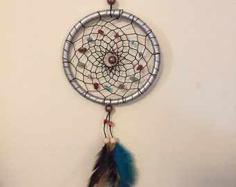Indian Style Handmade Silver Dream Catcher with Gemstones Wind Chime Blue Feather Pendant Hanging Decoration
