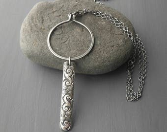 Long Oxidized Sterling Silver Circle Necklace with Bar Pendant