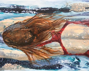 Large giclee art print of a swimmer