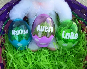 Personalized Polka Dot Eggs Easter Basket Filler Custom Blue Purple Green