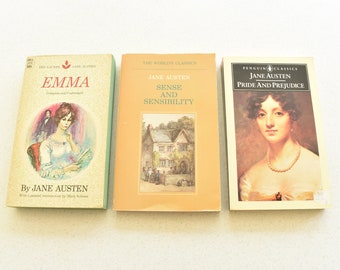 Vintage Paperback Jane Austen Book Set of 3 Pride and Prejudice, Emma, Sense and Sensibility
