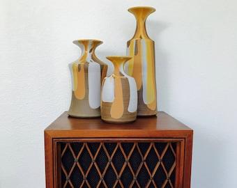 1960s Jaru of California ceramic vases / set of 3 with tags / midcentury modern drip glaze pottery