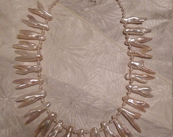 Vintage White Baroque Freshwater Pearl Necklace
