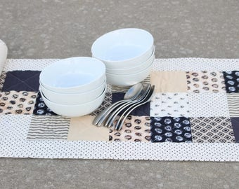 Black White Table Runner, Patchwork Table Runner, Quilted Table Runner