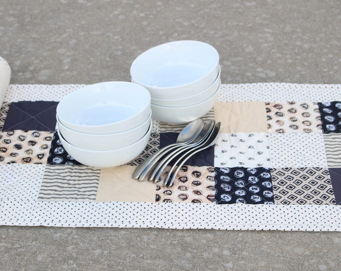 Quilted Black White Patchwork Table Runner