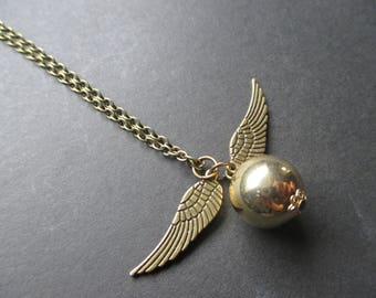 Harry Potter Inspired Antique Gold Ball and Wings Snitch Style Pendant Necklace