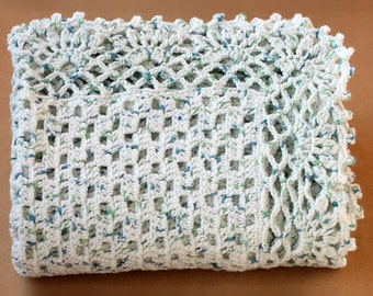 Baby Boy Afghan. Crochet Blanket. Infant Keepsake Blankie. Kids Bedding Nursery Decor. Acrylic Throw. Baby Wrap Shower Gift. Blue and Green