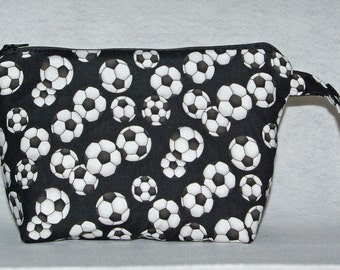 Soccer Balls Cosmetic Bag, Wristlet Purse, Small Clutch, No Shipping Charge, Ready To Ship TODAY, AGFT 484