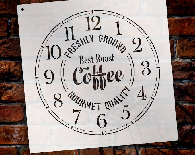 Featured listing image: Round Coffee Clock Stencil Small to Extra Large -  DIY Painting Wood Clocks  Rustic Farmhouse Country Home Decor for Walls - SELECT SIZE