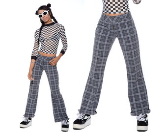 Vintage 90s PLAID Grunge Cropped No Doubt Rave Club-Kid Flared Bell Bottoms Pants Size S