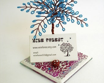 Tree business card etsy desktop business card holder note photo display blossom in blue wire sculpture tree colourmoves
