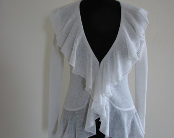 High-quality Natural 100% Linen knitted cardigan with flounces (handmade)
