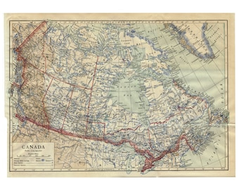 canada authentic antique map pre world war i 1910 full color