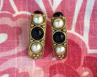 Quarter hoop earrings with faux pearls and onyx-vintage costume jewelry