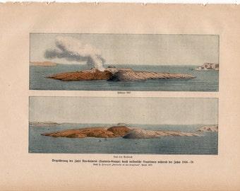 1900 VOLCANO crater eruption original antique lithograph print - volcanic ash duo