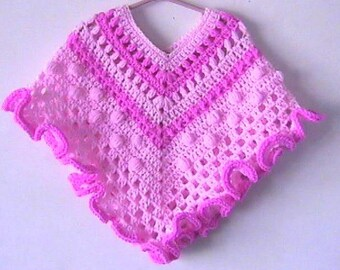 Toddler Girl Poncho Crochet Pattern Granny Ruffle Pink