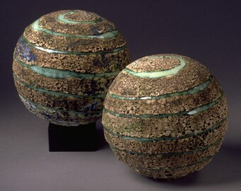 Ceramic Textured Planet Large Spheres, Twin Sister Pleiades Constellation, Modern Organic Earth Natural Star Art Housewarming Wedding Gift