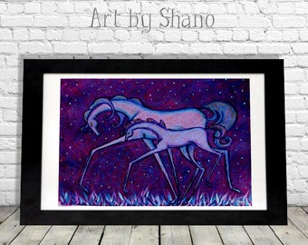 Horses Art Print, Modern Farmhouse Home Decor, Colorful Wall Hanging, Equine Lovers Gift, Unique Horse Artwork,  Mother Daughter, Shano