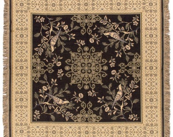 Black Chinoiserie Throw Blanket - Bird Design Tapestry Throw - 56x56 Belgian Tapestry Throw - Floral Throw Blanket - TT-753/40
