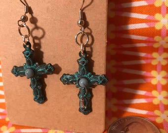 Bronze and Blue Cross Earrings with Center